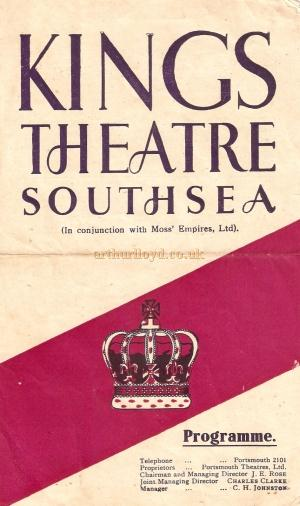 A 1940s programme cover for the King's Theatre, Southsea - Courtesy David Smith.