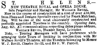 A notice in the ERA of the 15th of March 1890 on the building of the first Theatre Royal, St. Helens.
