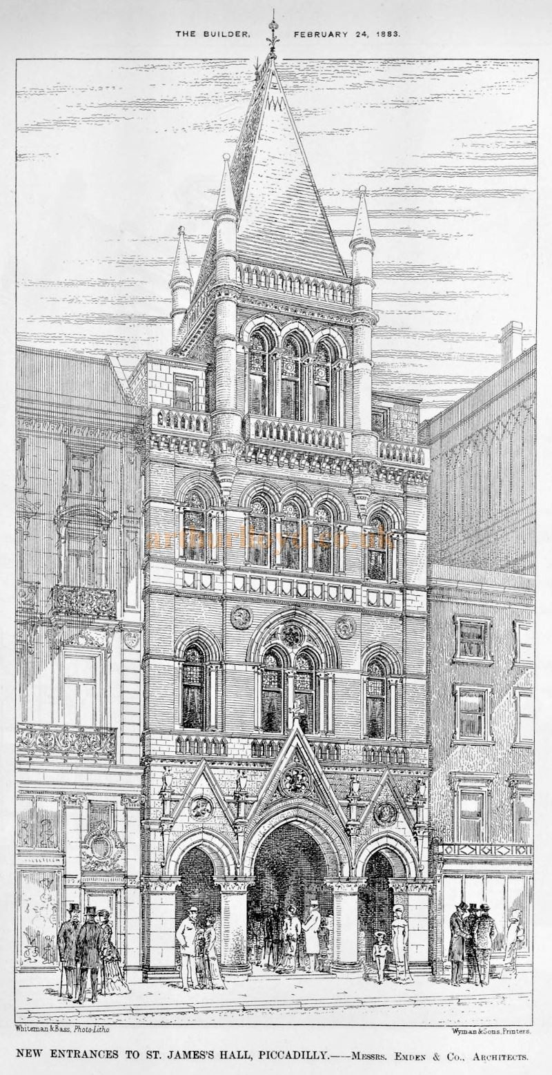 The New Entrances to St. James's Hall, Piccadilly - Messrs. Emden & Co., Architects - From the Builder, February 24th 1883.
