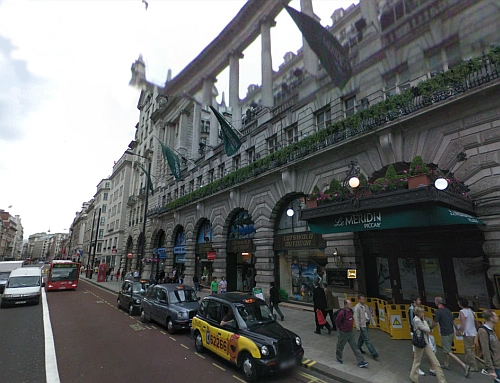 A Google Streetview image of the site of the former St. James's Hall today, now the Le Méridien Piccadilly Hotel - Click to Interact.