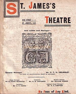 Programme for 'Old Heidelberg' at the St. James's Theatre March 19th 1903.