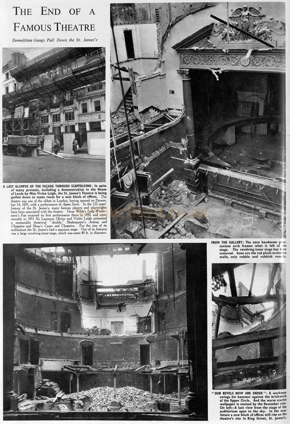The Demolition of the St. James's Theatre in 1957 - From The Sphere, December 28th 1957.