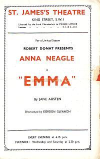 Programme for 'Emma' at the St. James's Theatre in 1944, with Anna Neagle.