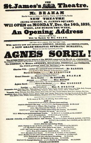 Poster advertising the opening of the St. James's Theatre on December the 14th 1835 - From the book 'The St James's Theatre, it's strange & Complete History' by Barry Duncan 1964.