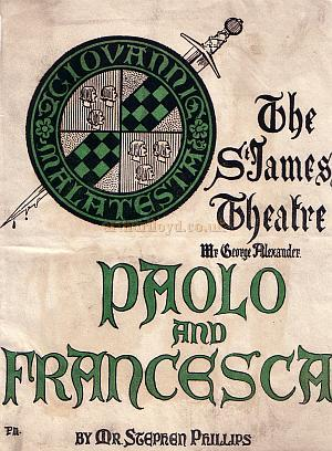 Programme for 'Paolo and Francesca' at the St. James's Theatre in 1902.