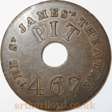 An early Entrance Token for the Pit of the St. James's Theatre - Courtesy Alan Judd