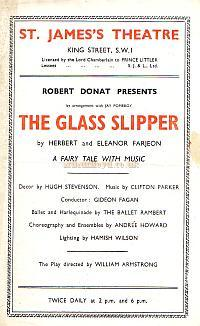 Programme for 'The Glass Slipper' at the St. James's Theatre in 1944.