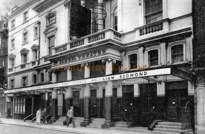 The St. James's Theatre during the run of 'It's the Geography That Counts' in 1957, this was the last production at the Theatre before it was demolished - From The Sphere, September 28th 1957.