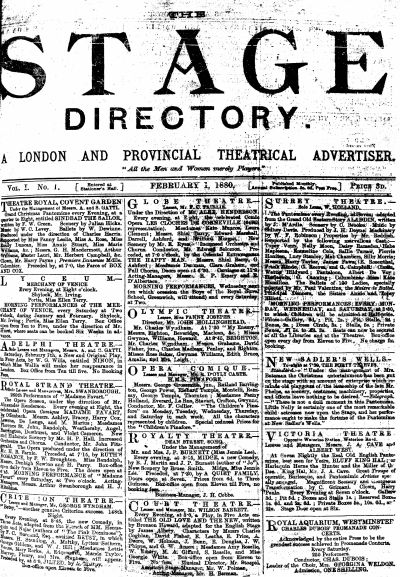 The first issue of 'The Stage Directory' in February 1880 - Click to browse the Paper's Online Archive.