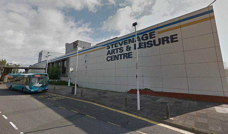 A Google Streetview image of the Stevenage Arts & Leisure Centre and Gordon Craig Theatre - Click to Interact
