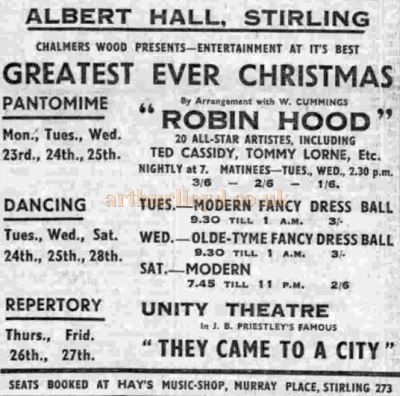 An Advertisement from December 1946 for Chalmers Wood presenting Christmas entertainment in the Albert Hall, Stirling - Courtesy Graeme Smith.
