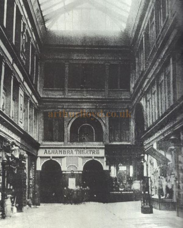 An early interior photograph showing the Stirling Arcade and entrance to the Alhambra Theatre - Courtesy Stewart Donaldson.