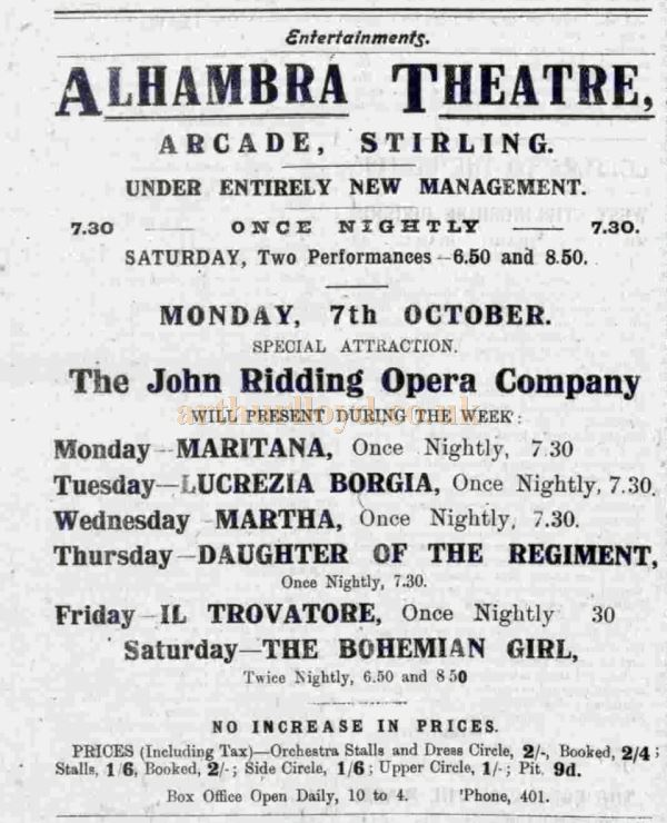 An October 1918 advert with the John Ridding Opera Singers at the Alhambra Theatre, Stirling - Courtesy Graeme Smith.