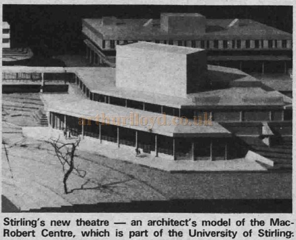An Architectural model of the MacRobert Arts Centre, Stirling, displayed at the theatre's opening in 1971 - Courtesy Graeme Smith.