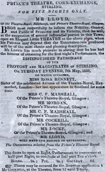 An Advertisement from May 1850 for Horatio Lloyd at the Corn Exchange, Stirling - Courtesy Graeme Smith.