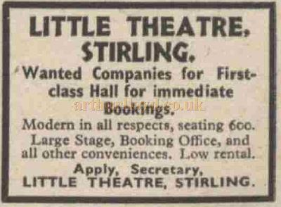 A December 1936 trade advert from The Stage for the Little Theatre, Stirling - Courtesy Graeme Smith.