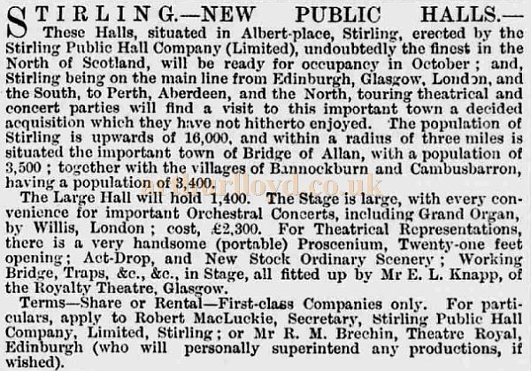 An Advertisement from the ERA of August 1883 for the New Public Halls, Stirling (Albert Halls) - Courtesy Graeme Smith.