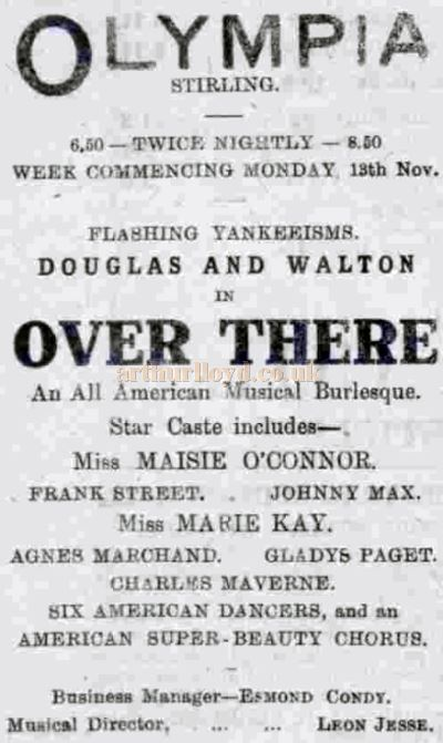 An Advertisement from November 1918 for 'Over There' staged with an American cast at the Olympia, Stirling - Courtesy Graeme Smith.