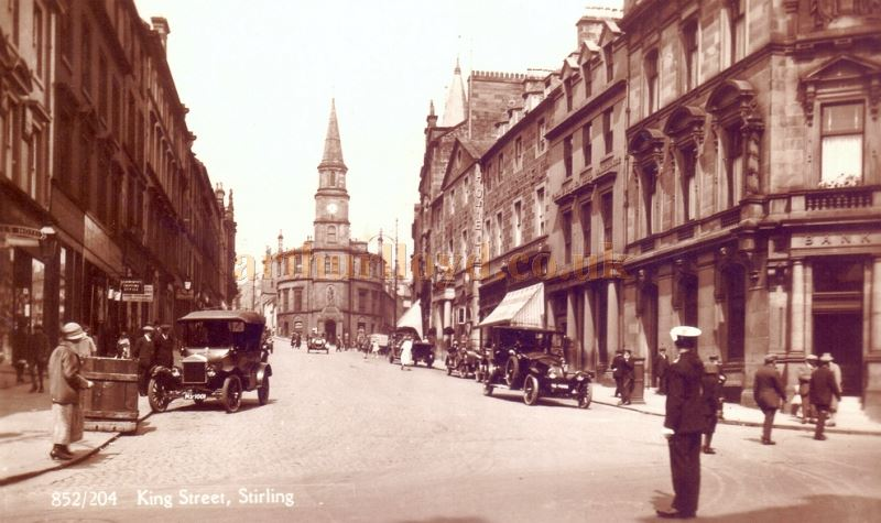 A Postcard showing Stirling's King Street, and the entrance to Stirling Arcade, its Theatre being the distant building on the right hand row, with entrance columns and canopy - Courtesy Graeme Smith.