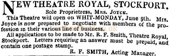 A notice in the ERA of April the 20th 1851 advertises the New Theatre Royal Stockport