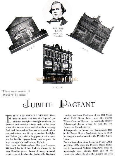 Page 1 of the Theatre Royal, Stockport's Jubilee Programme, June 6th, 1938, from which this article is reproduced.
