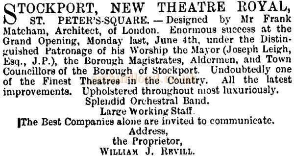 A notice in the ERA of the 9th of June 1888 reports on the Gala opening of the Theatre Royal, Stockport