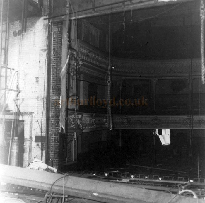 The auditorium of the Theatre Royal, Stockport taken from the stage during the Theatre's demolition in the summer of 1962 - Photograph John Richardson -  Courtesy Martin Stafford.