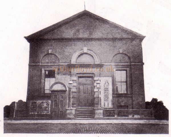 The former Temperance Hall, later the People's Opera House, Stockport in a photograph taken in 1887, a year before it was destroyed by fire in 1888 - From the Theatre's Jubilee Programme June 6th, 1938.