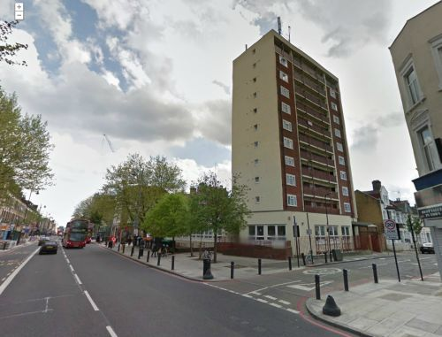 A Google StreetView Image of Alexandra Court, which was built on the site of the Alexandra Theatre in the 1960s - Click to Interact.