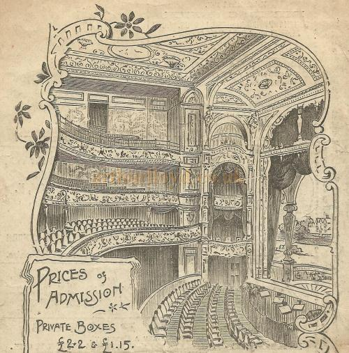 The auditorium of the Alexandra Theatre, Stoke Newington. From a programme for the pantomime 'Sinbad the Sailor' Boxing Day 26th December 1899 - Courtesy David Garratt.