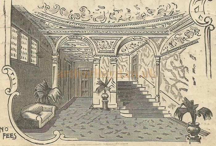 The foyer of the Alexandra Theatre, Stoke Newington. From a programme for the pantomime 'Sinbad the Sailor' Boxing Day 26th December 1899 - Courtesy David Garratt.