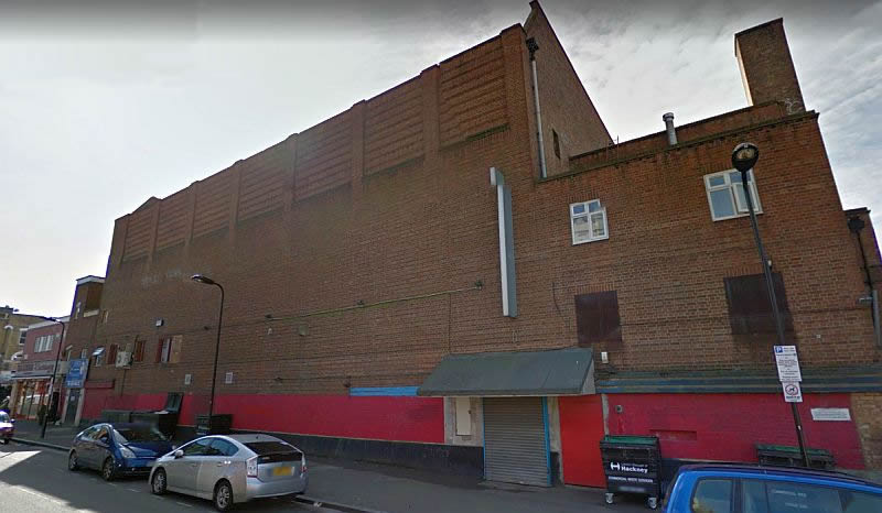 A Google StreetView Image of the side elevation of the former Savoy Theatre, Stoke Newington - Click to Interact