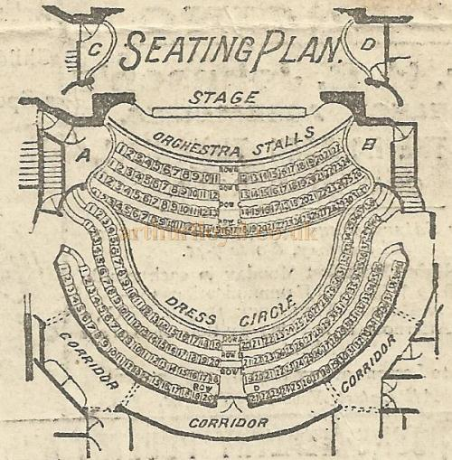 A seating plan of the Alexandra Theatre, Stoke Newington. From a programme for the pantomime 'Sinbad the Sailor' Boxing Day 26th December 1899 - Courtesy David Garratt.
