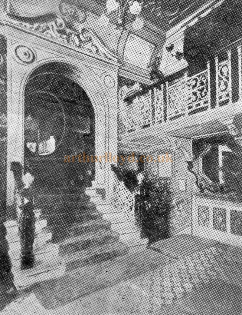 The original Foyer of the Borough Theatre, Stratford East - From a programme for 'Hamlet' and School For Scandal' at the Theatre in February 1925.