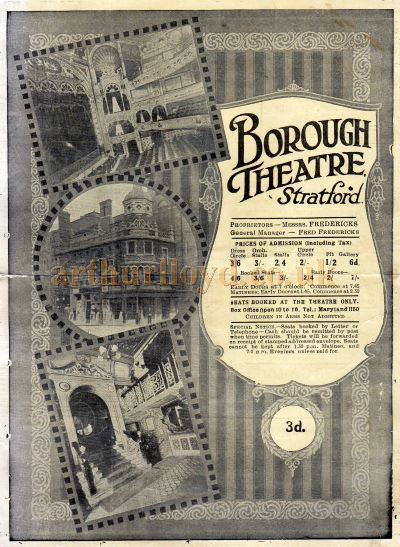 A programme for 'Hamlet' and School For Scandal' at the Borough Theatre, Stratford in February 1925 - Click to see entire programme.