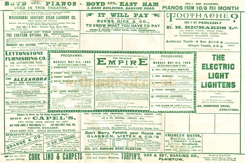 A Twice Nightly Variety Programme for the Stratford Empire for the week of May 4th, 1908