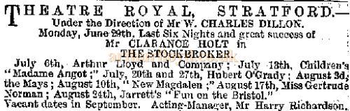 Advertisement for Arthur Lloyd and Company at the Theatre Royal, Stratford - From The Era 27 Jun 1885.