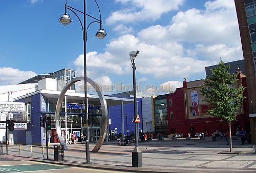 Gerry Raffles Square, Stratford East, in August 2009, showing the Theatre Royal and Picturehouse. Photo M.L.