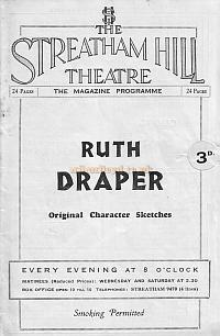 Programme for 'Ruth Draper' at the Streatham Hill Theatre May 8th 1933