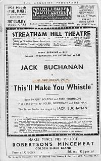 Programme for 'This'll Make You Whistle' at the Streatham Hill Theatre - 13th January 1936