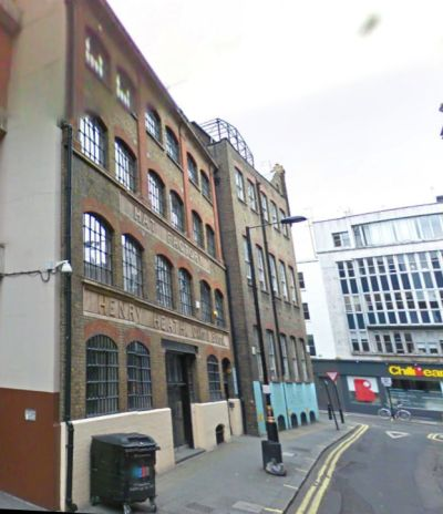 A Google StreetView Image showing the former Henry Heath Hat Factory, off Oxford Street today - Click to Interact.