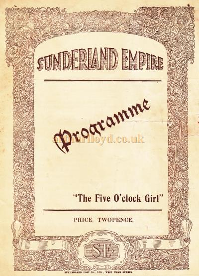 A programme for 'The Five O'clock Girl' at the Sunderland Empire on October 28th, 1929.