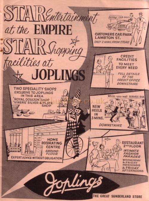 An advertisement for 'Joplins' - From the opening programme for the Empire, Sunderland as a Civic Theatre - Courtesy Roy Cross.
