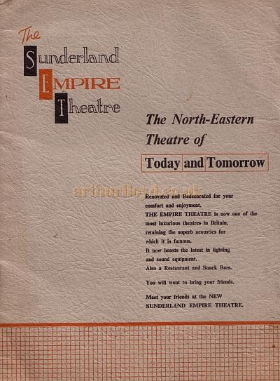 The opening programme for the Empire, Sunderland as a Civic Theatre - Courtesy Roy Cross.