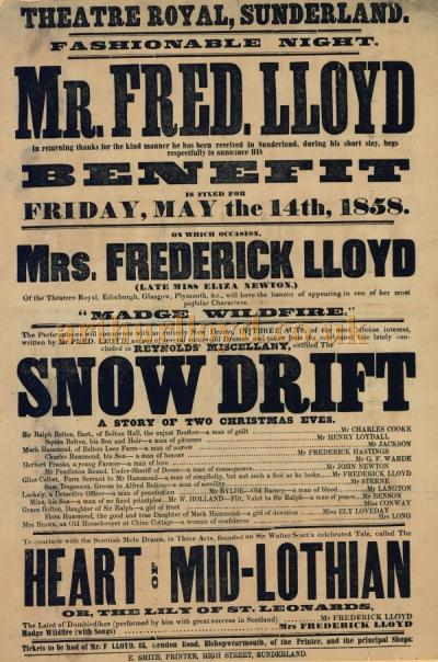 A Poster for a Benefit for Fred Lloyd, the son of Horatio Lloyd, and brother of Arthur Lloyd, and Fred's wife Eliza Newton, later Mrs Frederick Lloyd, at the Theatre Royal, Sunderland on May the 14th 1858 - Click to Enlarge.