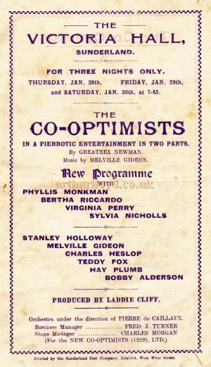 A programme for a production of 'The Co-Optimists' at the Victoria Hall, Sunderland in January 1929.