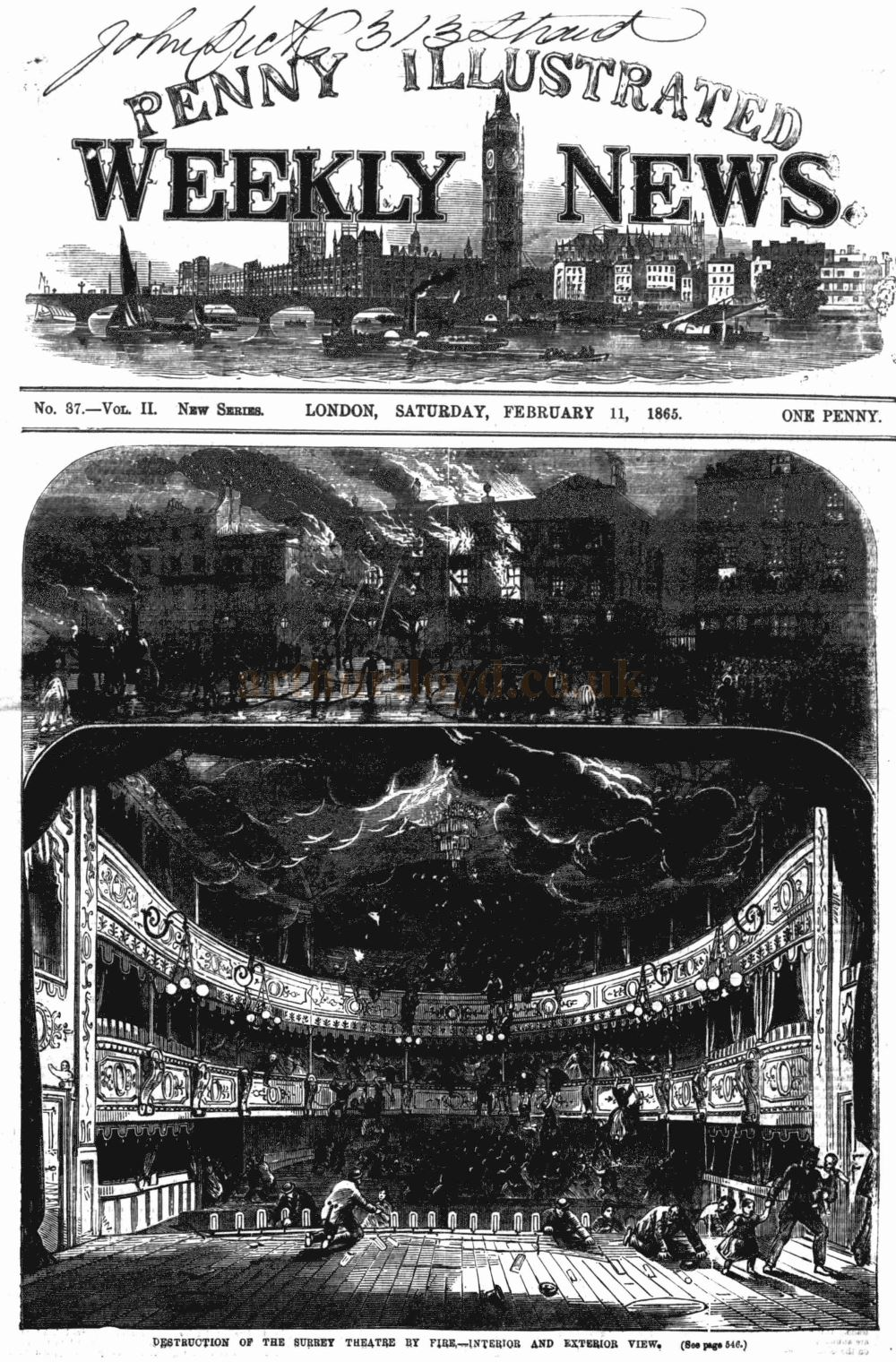 Destruction of the Surrey Theatre by fire - Interior and Exterior View - The Penny Illustrated, 11th February 1865.