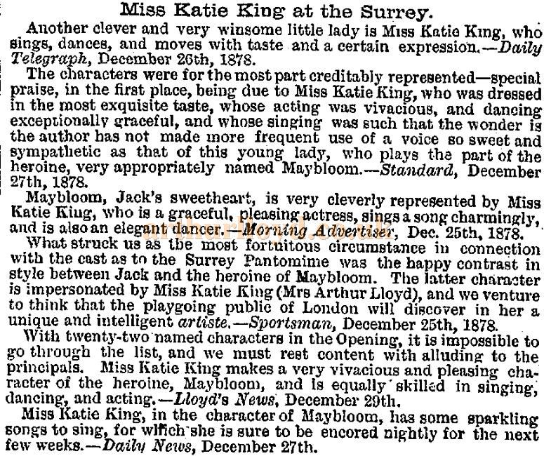A cutting from the ERA of the 5th of January 1879 on Katty King's performance in the pantomime 'The House That Jack Built' at the Surrey Theatre in 1878 / 1879.
