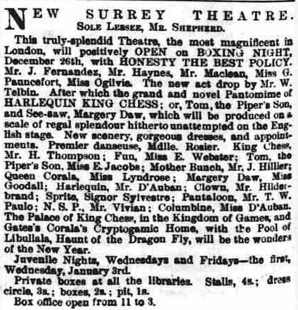 A Notice printed in the South London Press on Saturday the 23rd of December 1865 on the Theatre's imminent reopening.