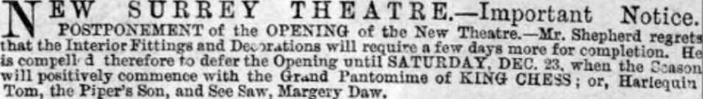 A Notice on the delay of the opening of the New Surrey Theatre - From the Illustrated London News, 9th of December 1865.